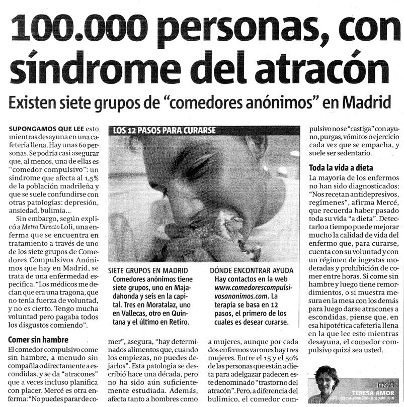 Artículo del Diario Metro, Madrid