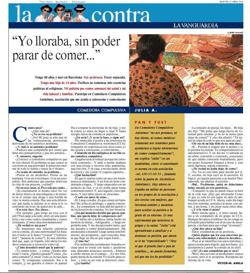 Artículo de la Vanguardia 22-04-2003 - OA Julia