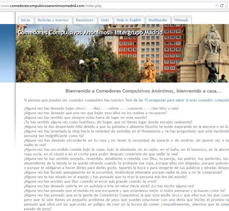 Página web antígua de Comedores Compulsivos Anónimos | Intergrupo de Madrid