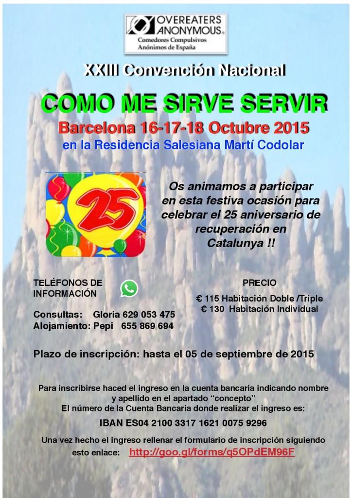 Cartel XXIII Convención Nacional Comedores Compulsivos Anónimos España. Barcelona, 16 de Octubre de 2015